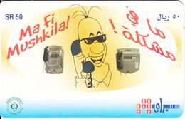 SAUDI ARABIA(chip) - Ma Fi Mushkila/Man On Phone(yellow), Saudi Telecom Telecard 50 Riyals, Chip GEM3.3, Used - Saoedi-Arabië