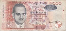BILLETE DE MAURITIUS DE 500 RUPIAS DEL AÑO 2007  (BANKNOTE) - Mauricio