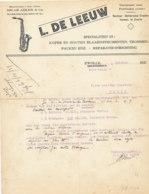 FA 1334 - FACTURE  -  L. DE LEEUW   KOPER EN HOUTEN BLAASINSTRUMENTEN   ZWOLLE - France