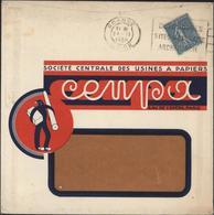 Enveloppe Illustrée Société Centrale Usines à Papier Cenpa Paris YT 362 Semeuse Lignée 50c Bleue CAD Roanne 24 II 38 - 1921-1960: Modern Period