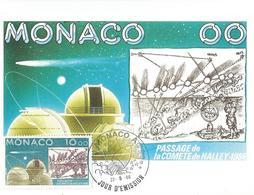 MONACO CARTE POSTALE 1erJOUR FDC 22/05/1986 PASSAGE DE LA COMETE DE HALLEY - FDC