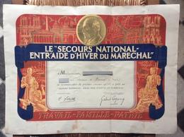 SECOURS NATIONAL ENTR'AIDE D'HIVER DU MARÉCHAL Diplôme De Reconnaissance - Historical Documents