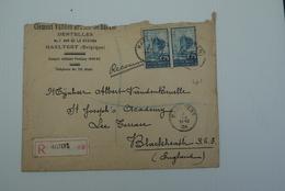 Haaltert Aalst Recommandée 1934 Met Inhoud Kantwerker Dentelles Zeldzame Wasstempel Vdbdb Van Den Bruelle - Stamped Stationery