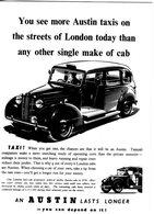 Austin FX3 London Taxi  -  Publicité D'epoque  -  CPM - Taxi & Carrozzelle