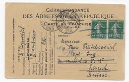 A81 Semeuse 137 Paire Sur CPFM D'un Serbe BP 216 (1917) - WW I