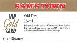 Sam's Town Casino Tunica MS - BLANK Paper VIP Gold Card (blank Reverse) - Casinokarten