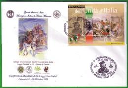 ITALIA 2013 - CONFERENZA MONDIALE DELLE LOGGE GARIBALDI:ANNULLO CATANIA 19/10/2013. - 6. 1946-.. Repubblica