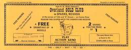 Pick Hobson's Overland Gold Club - Sparks Nevada - Coupon For Free Nickels & 2 For 1 Cocktails - Advertising