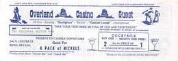 Pick Hobson's Overland Casino - Reno Nevada - Coupon For Free Nickels & 2 For 1 Cocktails - Advertising