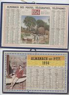 Almanach ,4 Calendriers, Petit Format, 21 X 13,5, 1954,1956,1958,1959,Andelys,Villefranche, Lavoir, Gym - Calendarios
