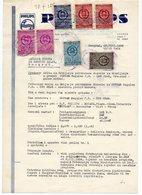 1955 YUGOSLAVIA, CROATIA, LETTERHEAD PHILIPS ZAGREB,  7 FISKAL STAMPS - Invoices & Commercial Documents