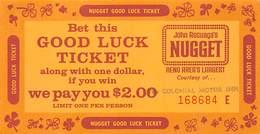 John Ascuaga's Nugget Casino - Reno NV - Good Luck Ticket / Match Play Coupon - Advertising