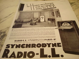 ANCIENNE PUBLICITE LE HOME MODERNE RADIO LL 1929 - Music & Instruments