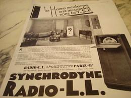 ANCIENNE PUBLICITE LE HOME MODERNE RADIO LL 1929 - Musik & Instrumente