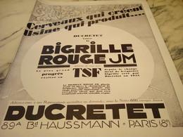 ANCIENNE PUBLICITE BIGRILLE ROUGE   DUCRETET 1928 - Musik & Instrumente