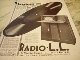 ANCIENNE PUBLICITE PHONO RADIO LL 1928 - Musik & Instrumente