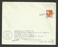 """Dpt. VAL DE MARNE / Griffe Linéaire """" SUCY EN BRIE """" Pour Annulation Timbre - Postmark Collection (Covers)"""
