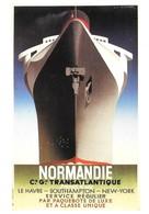 Affiche Paquebot Normandie Compagnie Générale Transatlantique  (2 Scans) - Bateaux