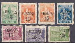 FIUME - 1919 - Lotto Di 7 Valori Nuovi MH: Yvert 83/88 E 90. - 8. WW I Occupation