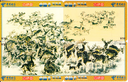 CHINA - Painting/Deers, Puzzle Of 4 China Telecom Prepaid Cards Y30-50-100, 09/03, Used - Puzzles