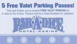 Par-A-Dice Casino - East Peoria, IL - BLANK Card For 5 Free Valet Parking Passes - Casinokarten