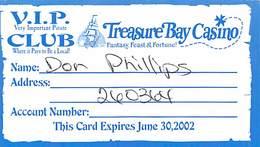 Treasure Bay Casino Biloxi MS - Paper VIP Club Card Expires June 30, 2002 - Casinokarten