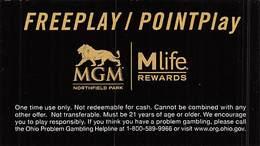 MGM Northfield Park Casino - MLife Rewards Instruction Card (Business Card Size) - Casinokarten