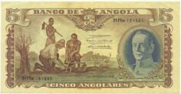 Angola - 5 Angolares - 1.1.1947 - Pick 77 - CRISP Note - General Carmona - PORTUGAL - Angola
