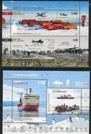 ARGENTINA, 2019, MNH, ANTARCTIC, SHIPS, PLANES, BASES, BIRDS, PENGUINS, 2 EMBOSSED S/SHEETS - Polar Philately