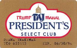 Trump Taj Mahal Atlantic City NJ 4th Issue President's Select Club Slot Card  ...[RSC]... - Casino Cards