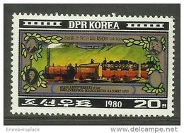 DPR Korea - 1980 Liverpool-Manchester Railway 20ch MNH **  Sc 2003 - Korea, North