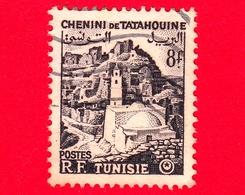 TUNISIA - Usato - 1954 - Chenini De Tatahouine - Veduta - 8 - Tunisia (1956-...)