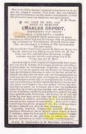 DP Schoolmeester Bekegem / Koster Charles Depoot ° Pervijze Diksmuide 1834 † Westkerke Roksem Oudenburg 1905 X M. Casier - Images Religieuses