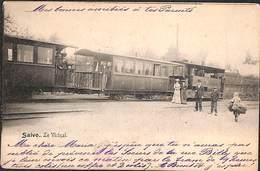 Saive - Le Vicinal (animée Tram Tramway Vapeur, Enfant Portant Gagots De Bois 1904) - Soumagne