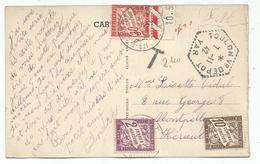 CARTE FM   C. HEX PERLE TOULON V° DEPOT 7.11.1942 POUR MONTPELLEIR TAXE 2FR+10C+30C RARE - Marcophilie (Lettres)