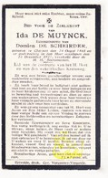 DP Ida De Muynck ° Kluizen Evergem 1868 † 1927 X Domien De Scheirder - Images Religieuses
