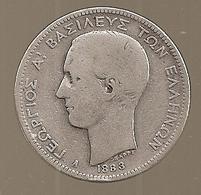 Grèce. 2 Drachmai 1883 A - Argent - Rare 250.000 Ex (281) - Grèce