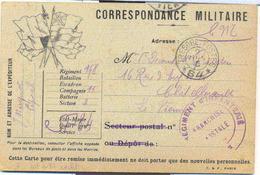 Trésor Et Poste 84 - 168e Régiment D'infanterie - Sur Carte FM à 6 Drapeaux Monochrome - Marcophilie (Lettres)
