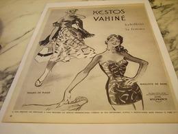 ANCIENNE PUBLICITE MAILLOTS-EMSEMBLES DE PLAGE KESTO-VAHINE  1953 - Habits & Linge D'époque