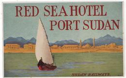 Etiquette Red Sea Hotel Port Sudan Railways - Etiquettes D'hotels