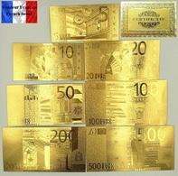 Set Complet De 7 Billets Plaqués OR + Certificat ! ( GOLD Plated Banknotes ) - Euros - Private Proofs / Unofficial
