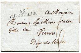 MOSELLE De THIONVILLE LSC Linéaire 54x10+ Taxe De 6 Pour VERVIERS+ Verso Arrivée 6/08/1810 - 1801-1848: Precursors XIX