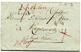 ARDENNES De VOUZIERS LSC Non Datée Linéaire 35x10 Taxe De 13 Pour KOPEZIOWITZ+transit R.N°3 - 1801-1848: Voorlopers XIX