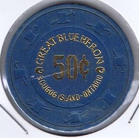 Casino Chip 50 Cent $ Great Blue Heron Scugog Island Ontario Canada - Casino