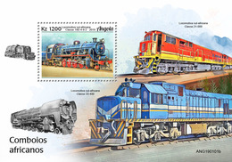 Angola.  2019 African Trains. (0101b)  OFFICIAL ISSUE - Angola