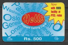 USED PHONECARD PAKISTAN HELLO RS 500 - Pakistan