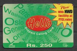 USED PHONECARD PAKISTAN HELLO RS 250 - Pakistan