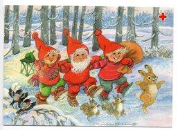 Postal Stationery RED CROSS - ÅLAND (Finland) - Artist: Marjaliisa Pitkäranta - GNOMES - BULLFINCHES - SQUIRREL - RABBIT - Finland