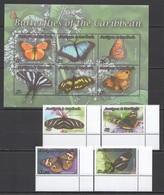 VV315 ANTIGUA & BARBUDA CARIBBEAN BUTTERFLIES #4763-66 MICHEL 19 EURO SET+KB MNH - Papillons