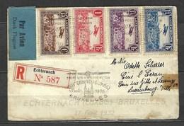 Première Poste Par Avion Echternach - Bruxelles, En Recommandé Le 17 Aout 1939, Belle étiquette Bi Langue - Airmail